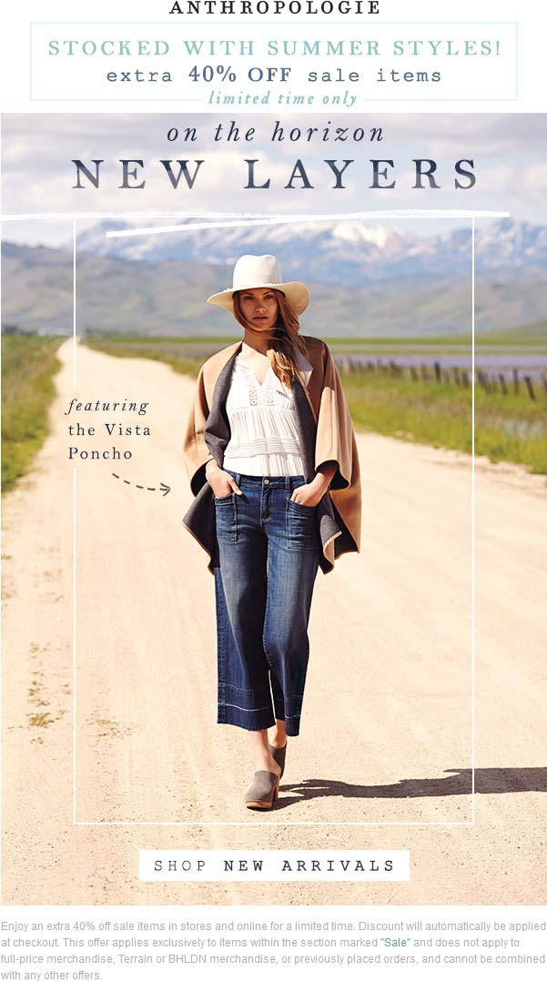 Anthropologie.com Promo Coupon 40% off sale items at Anthropologie, ditto online