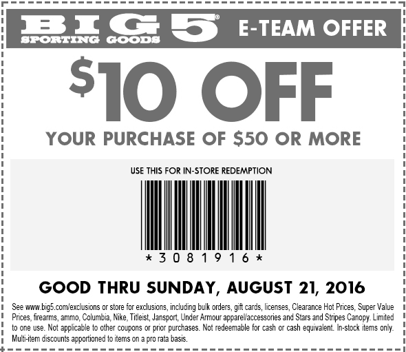 Big 5 Coupon August 2017 $10 off $50 at Big 5 sporting goods