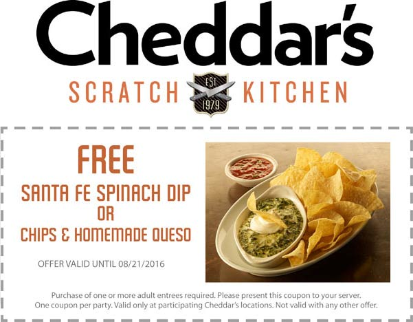 Cheddars Scratch Kitchen Coupon January 2017 Free spinach dip or chips n queso with your entree at Cheddars Scratch Kitchen