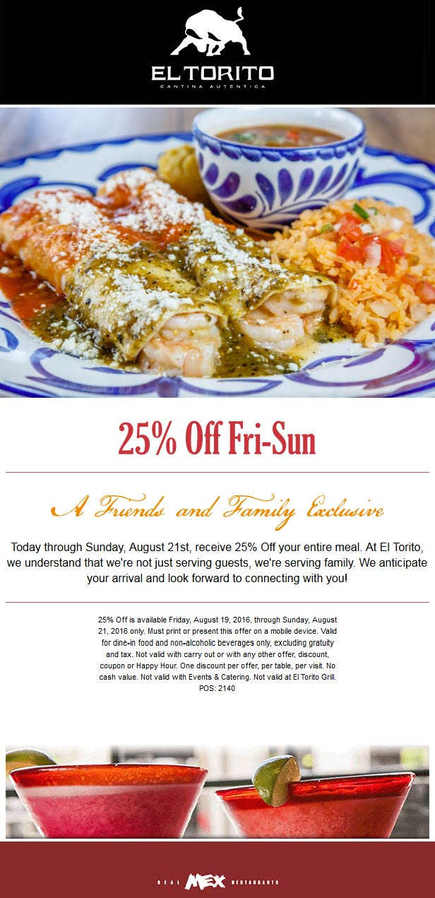 El Torito Coupon May 2017 25% off at El Torito restaurants