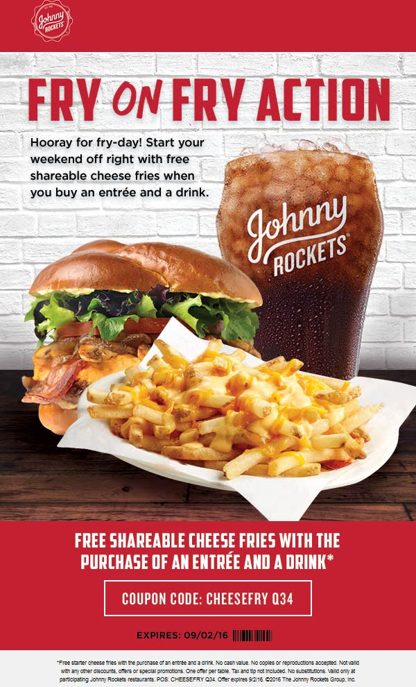 Johnny Rockets Coupon May 2017 Large cheese fries free with your burger & drink at Johnny Rockets