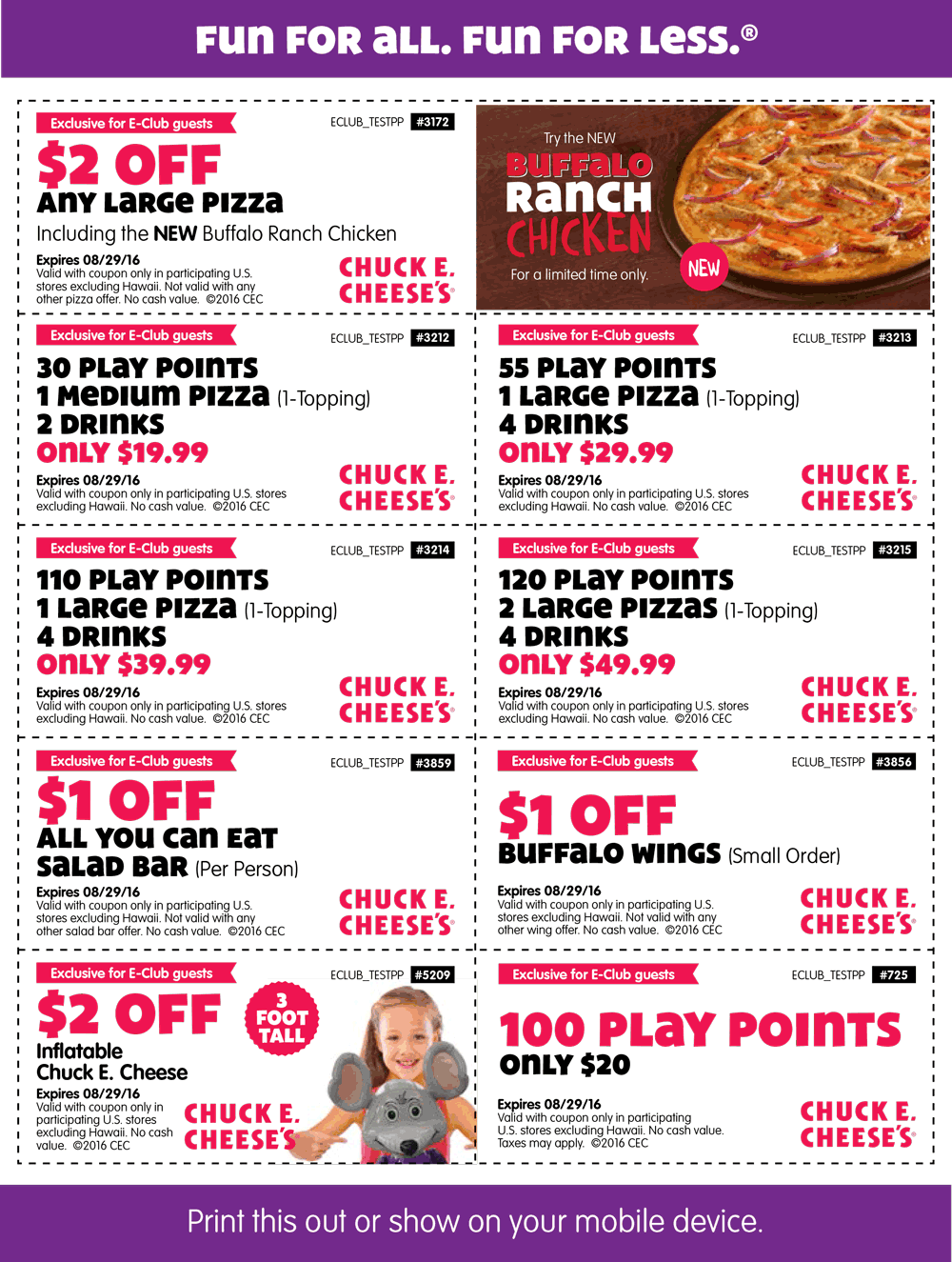 Chuck E. Cheese Coupon July 2017 100 tokens for $20 & more at Chuck E. Cheese pizza