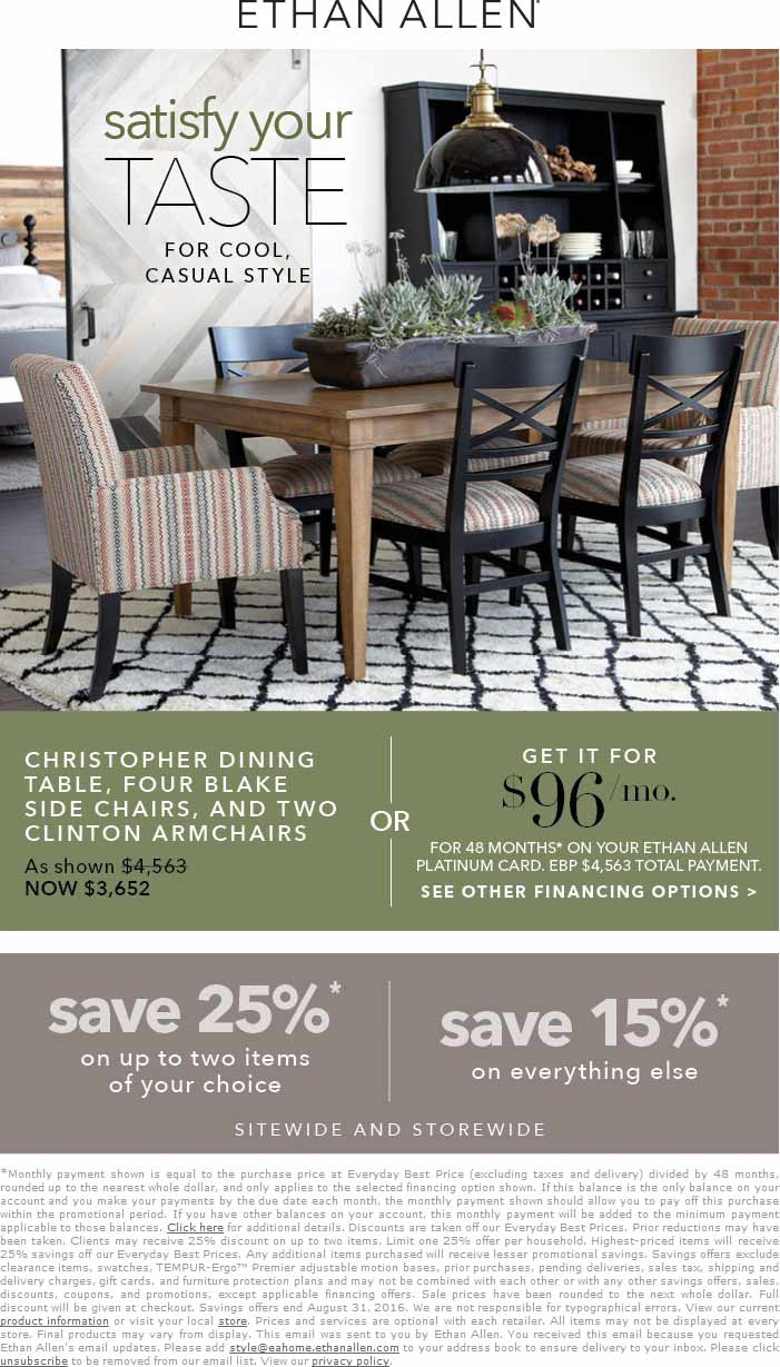 Ethan Allen Coupon October 2016 15-25% off everything at Ethan Allen, ditto online