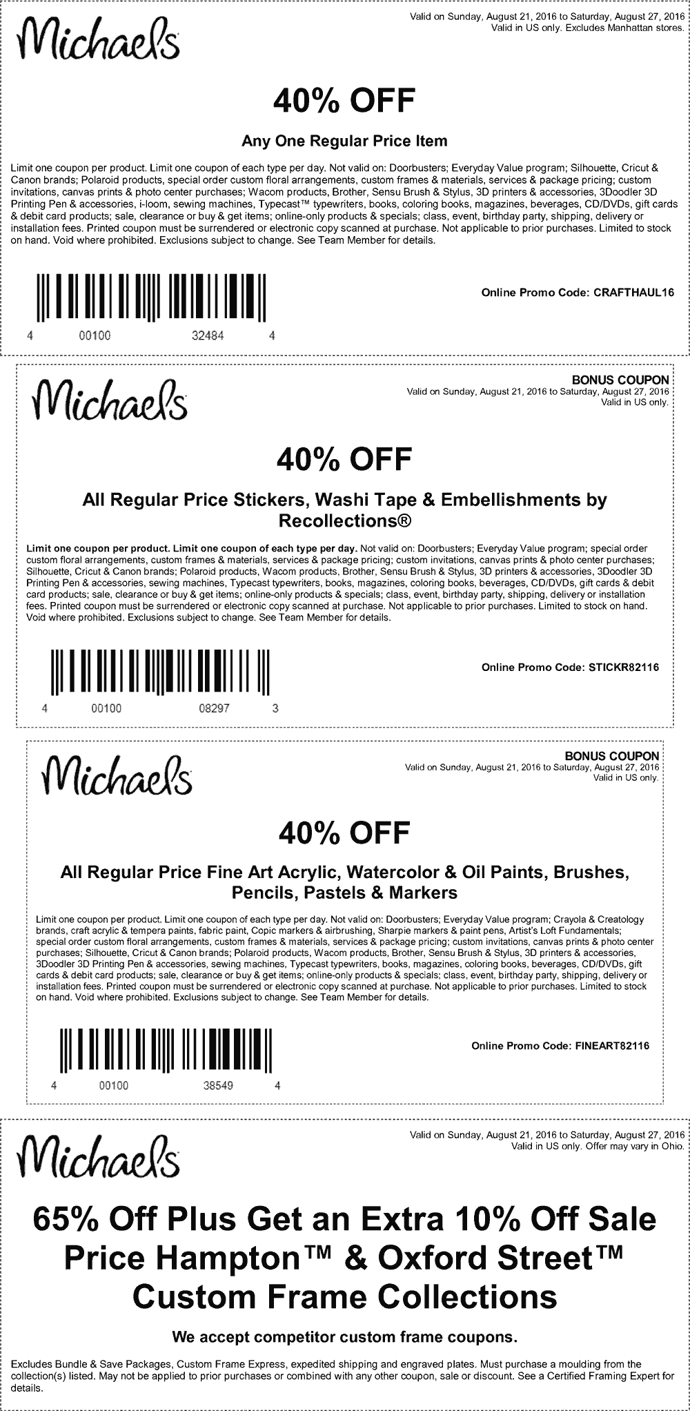 Michaels Coupon June 2017 40% off a single item at Michaels, or online via promo code CRAFTHAUL16