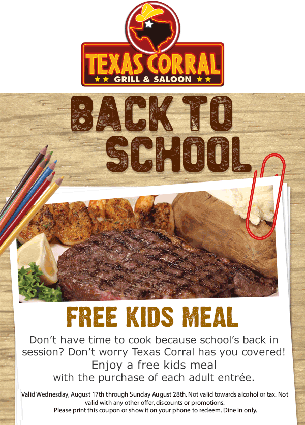 Texas Corral Coupon October 2016 Free kids meal with each entree at Texas Corral restaurants