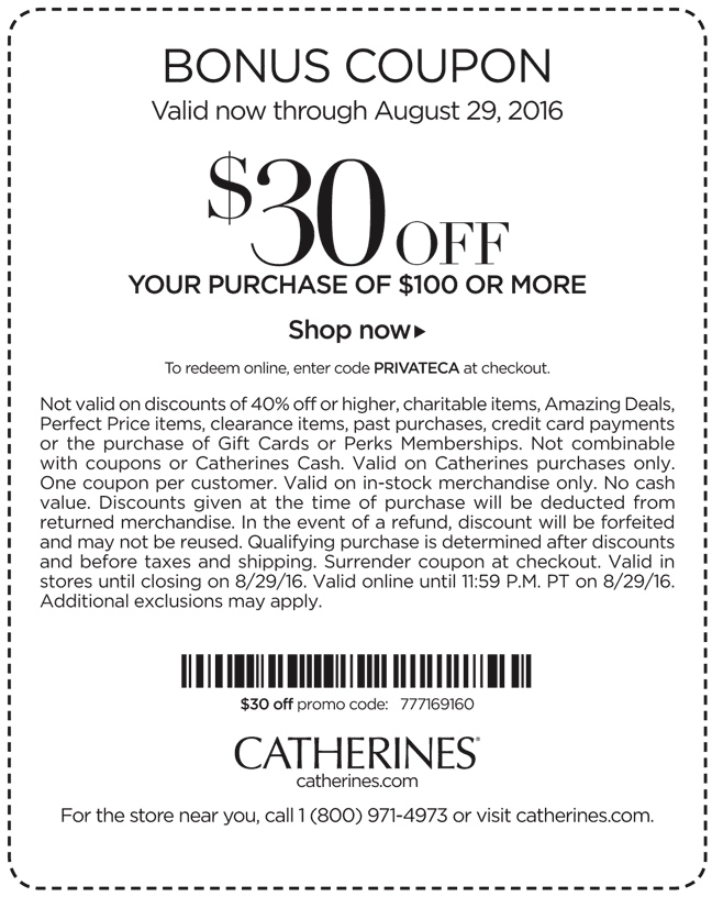 Catherines Coupon December 2016 $30 off $100 at Catherines, or online via promo code PRIVATECA