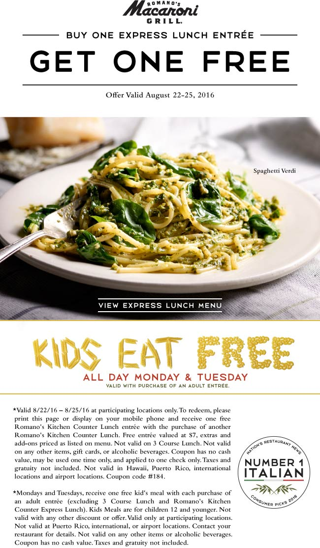 Macaroni Grill Coupon February 2017 Second lunch free at Macaroni Grill