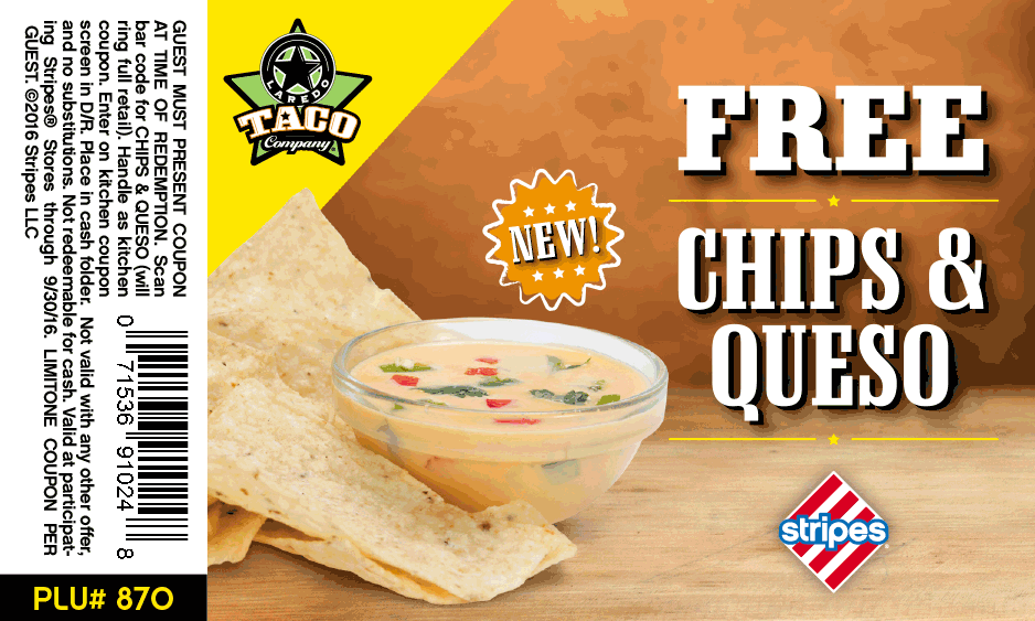 Stripes.com Promo Coupon Free chips & queso at Stripes gas stations