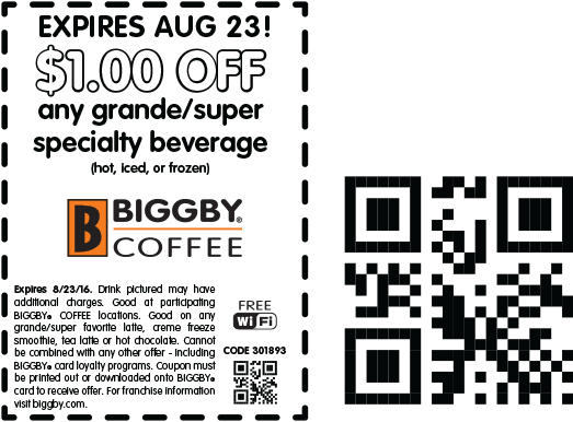 Biggby Coffee Coupon March 2018 Shave a buck off your beverage today at Biggby Coffee