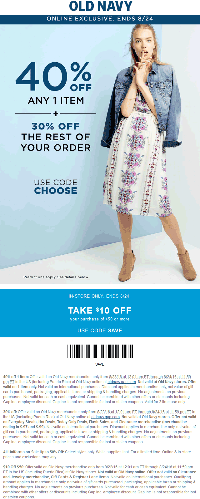 Old Navy Coupon June 2017 $10 off $50 at Old Navy, or 30-40% online via promo code CHOOSE
