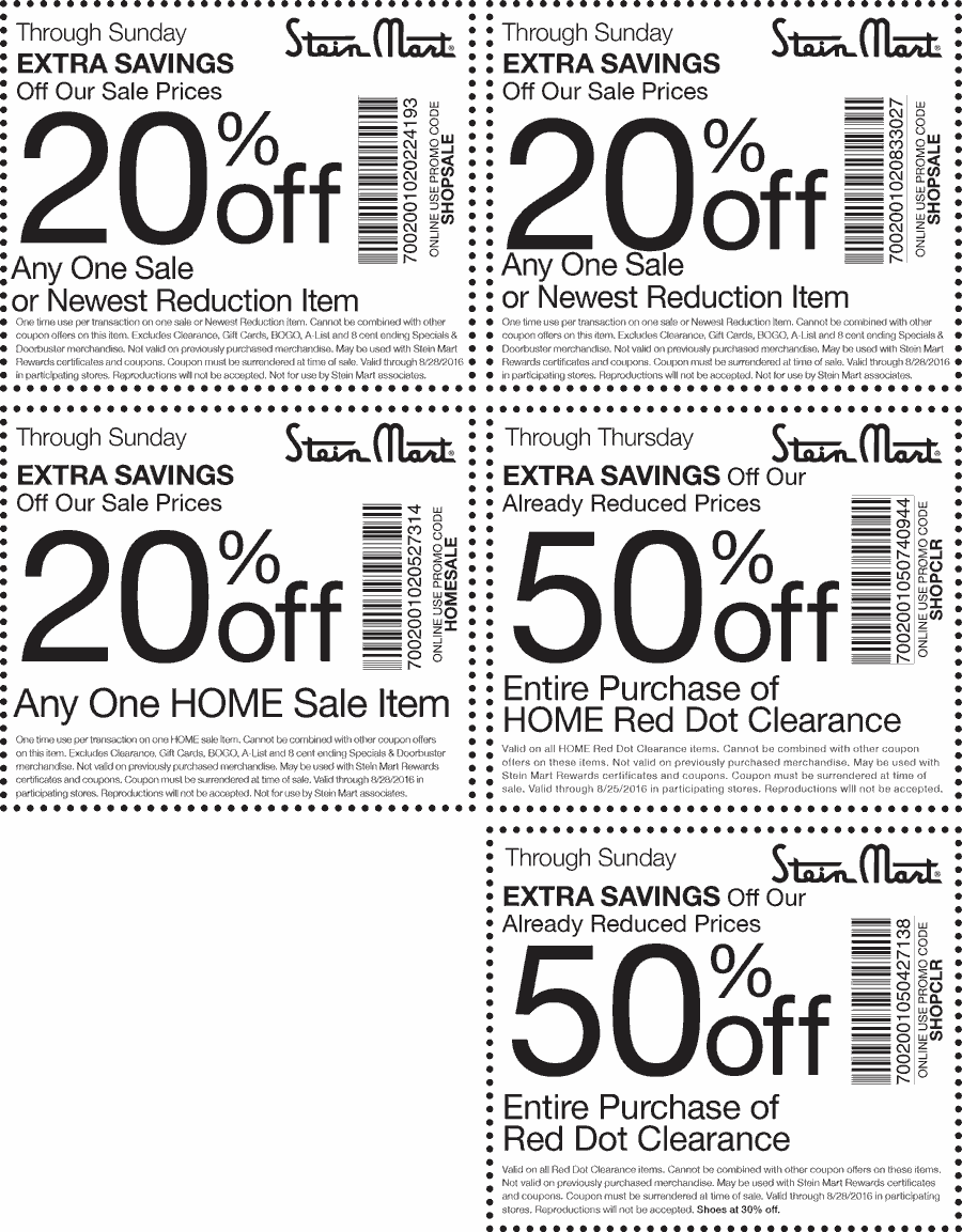 Stein Mart Coupon January 2017 Extra 50% off clearance & more at Stein Mart, or online via promo code SHOPCLR