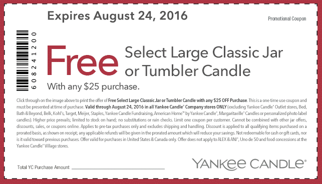 Yankee Candle Coupon February 2017 Free large candle with $25 spent at Yankee Candle