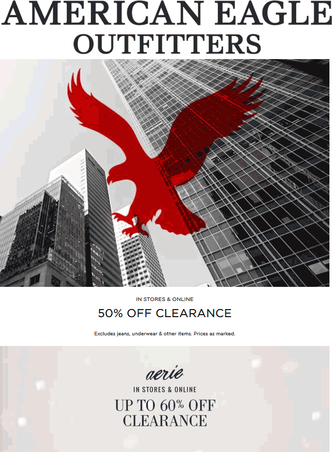 American Eagle Outfitters Coupon September 2017 50% off clearance at American Eagle Outfitters, ditto online