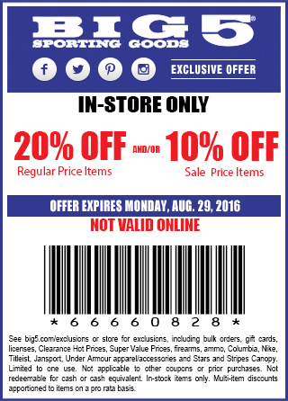 Big 5 Coupon April 2017 20% off at Big 5 sporting goods
