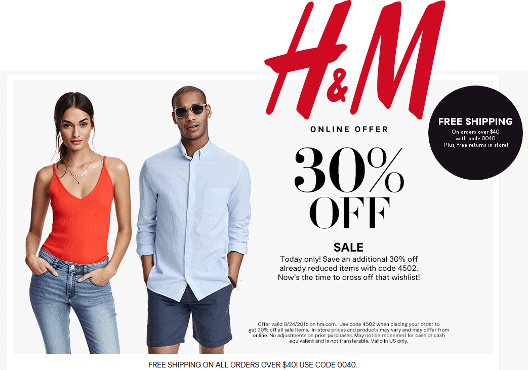 H&M Coupon July 2017 30% off today at H&M via promo code 4502