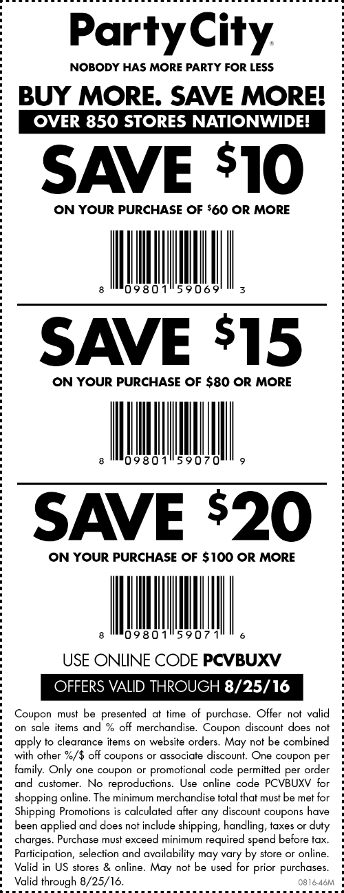 Party City Coupon July 2017 $10 off $60 & more at Party City, or online via promo code PCVBUXV