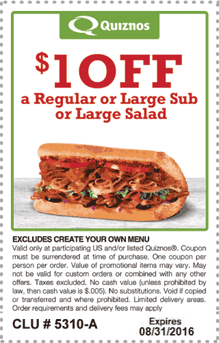 Quiznos Coupon October 2017 Shave a buck off your sub or salad at Quiznos