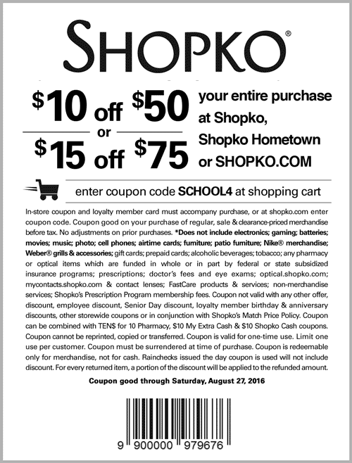 Shopko Coupon July 2017 $10 off $50 & more at Shopko, or online via promo code SCHOOL4