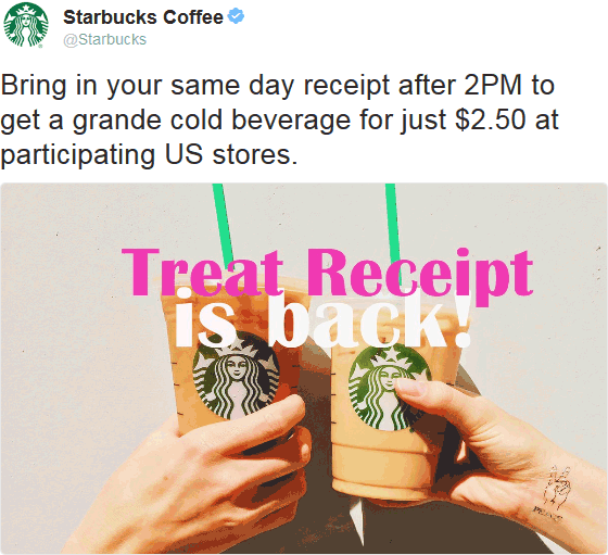 Starbucks Coupon May 2018 Bring morning receipt for a $2.50 cold grande after 2p at Starbucks
