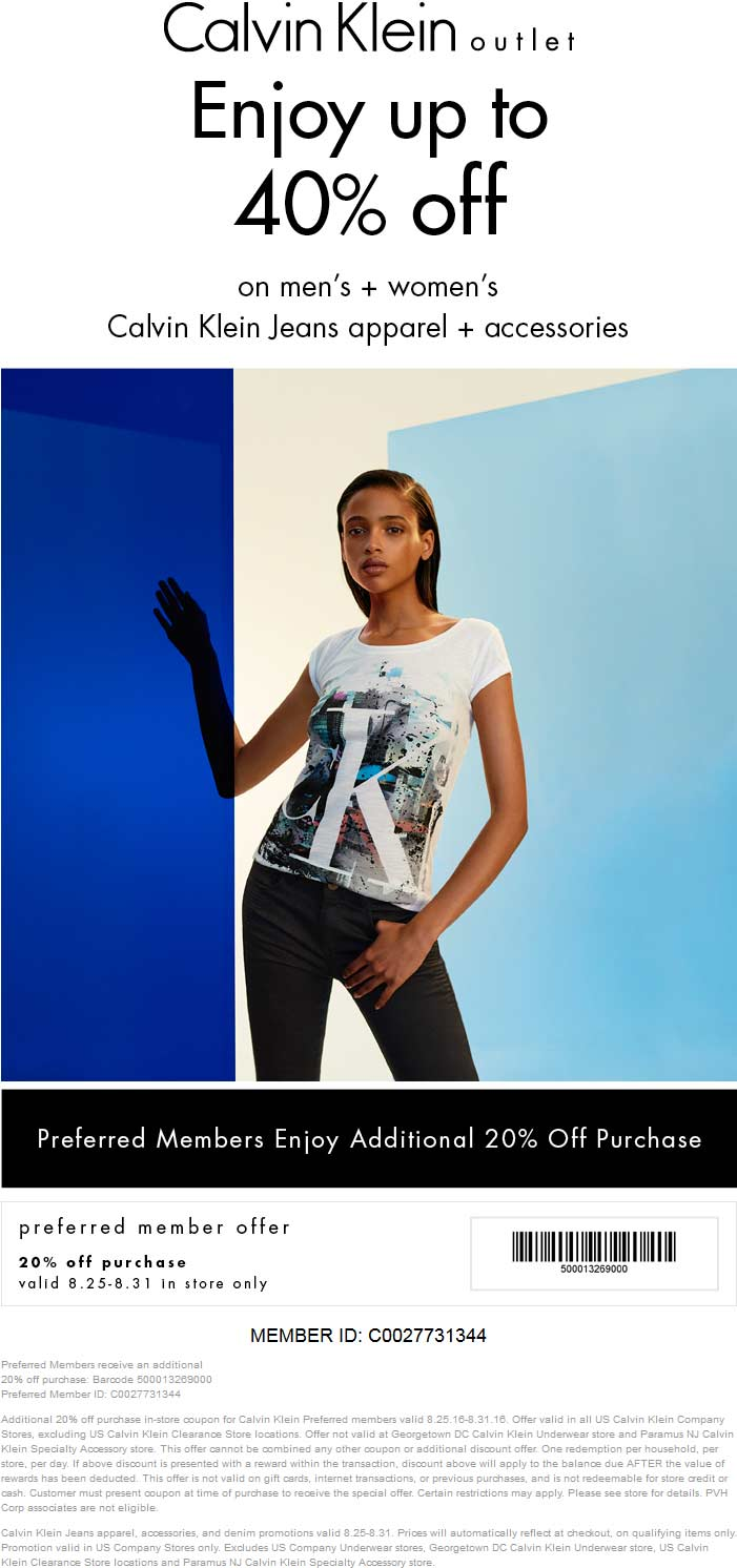 Calvin Klein Outlet Coupon October 2016 Extra 20% off at Calvin Klein Outlet locations