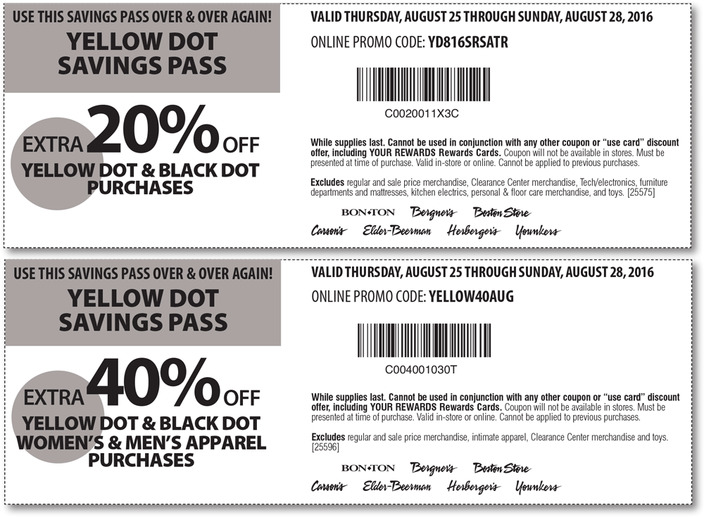 Carsons Coupon October 2016 Extra 40% off yellow clearance at Carsons, Bon Ton & sister stores, or online via promo code YELLOW40AUG