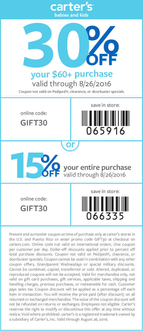 Carters Coupon August 2017 15-30% off at Carters, or online via promo code GIFT30