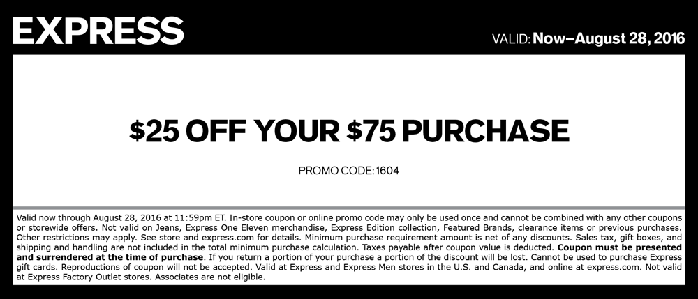 Express Coupon August 2017 $25 off $75 at Express, or online via promo code 1604