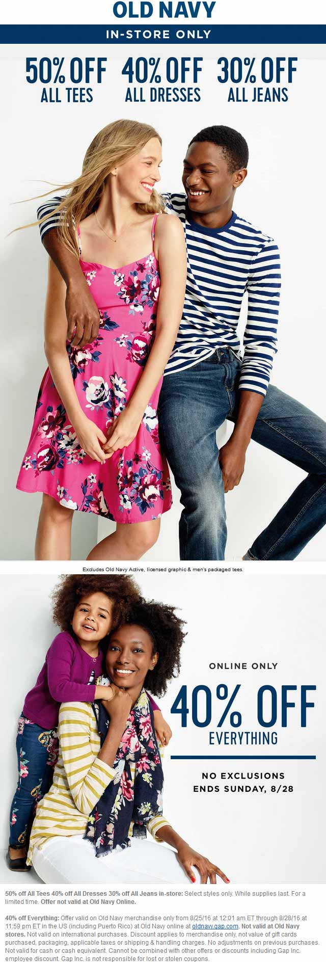 Old Navy Coupon May 2017 30-50% off at Old Navy, or 40% online