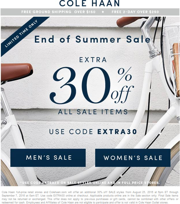 Cole Haan Coupon January 2018 Extra 30% off sale items at Cole Haan, or online via promo code EXTRA30