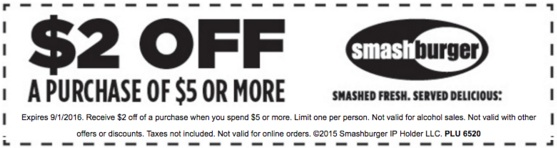 Smashburger Coupon May 2018 $2 off $5 at Smashburger restaurants