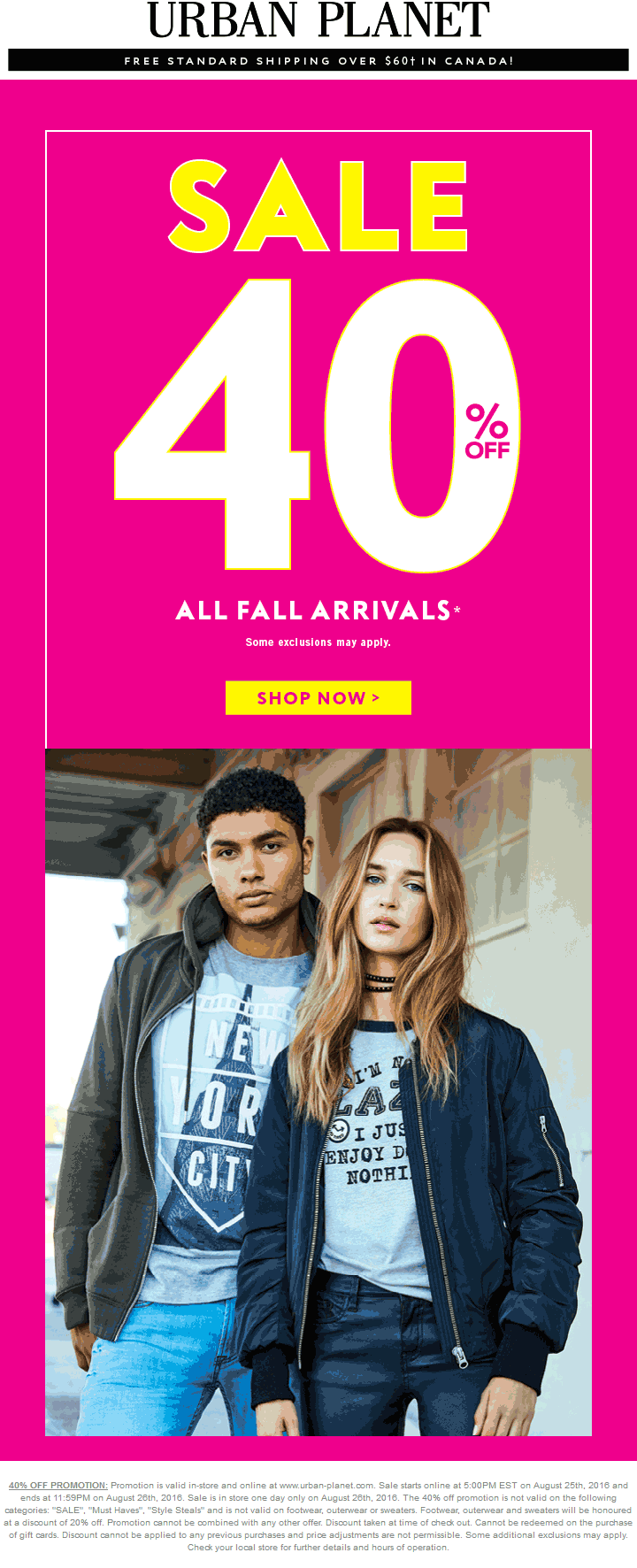 Urban Planet Coupon March 2018 40% off Fall today at Urban Planet, ditto online