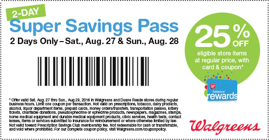 Walgreens.com Promo Coupon 25% off store items this weekend at Walgreens & Duane Reade
