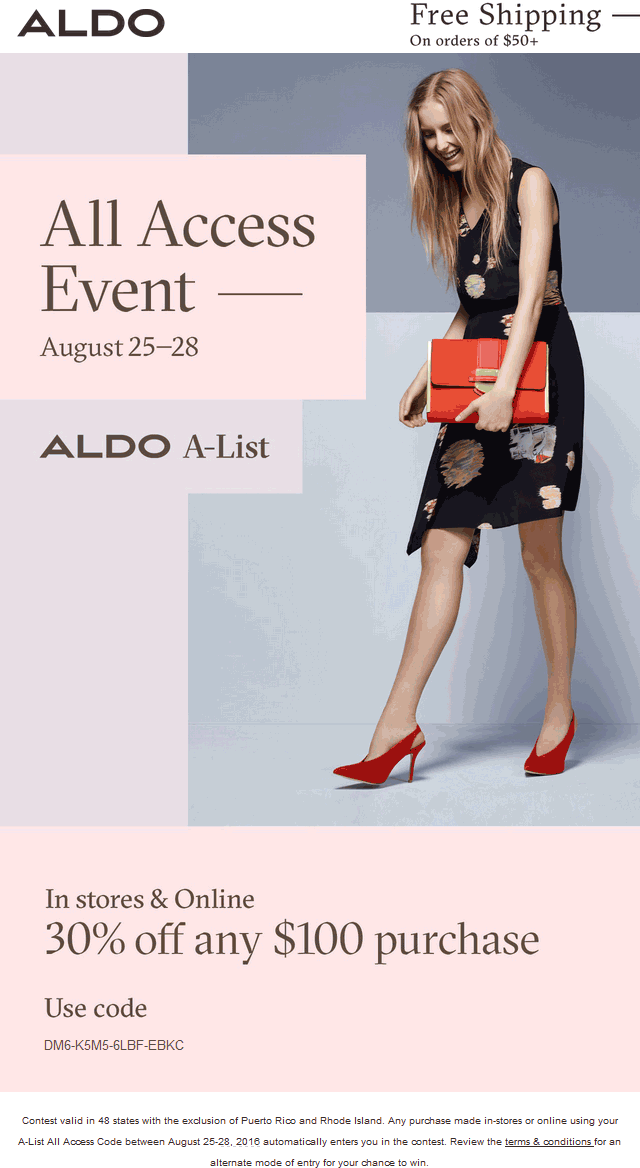 Aldo.com Promo Coupon 30% off $100 at Aldo, or online via promo code DM6-K5M5-6LBF-EBKC