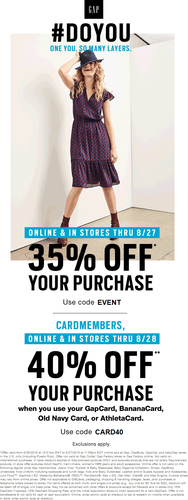 Gap Coupon January 2017 35% off today at Gap, or online via promo code EVENT