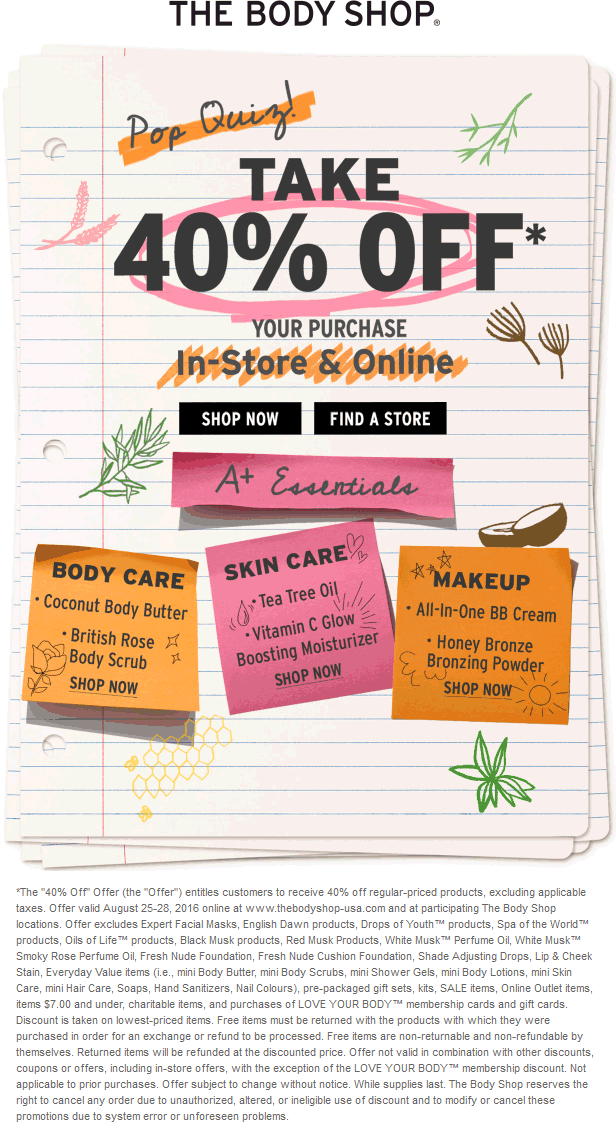 The Body Shop Coupon June 2017 40% off at The Body Shop, ditto online