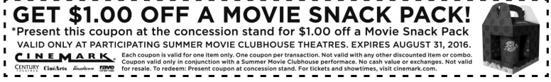 Cinemark.com Promo Coupon Shave a buck off a snack pack at Cinemark movie theaters