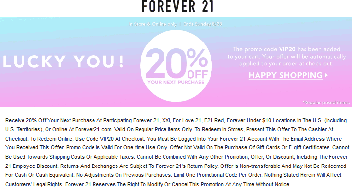 Forever 21 Coupon November 2017 20% off today at Forever 21, or online via promo code VIP20