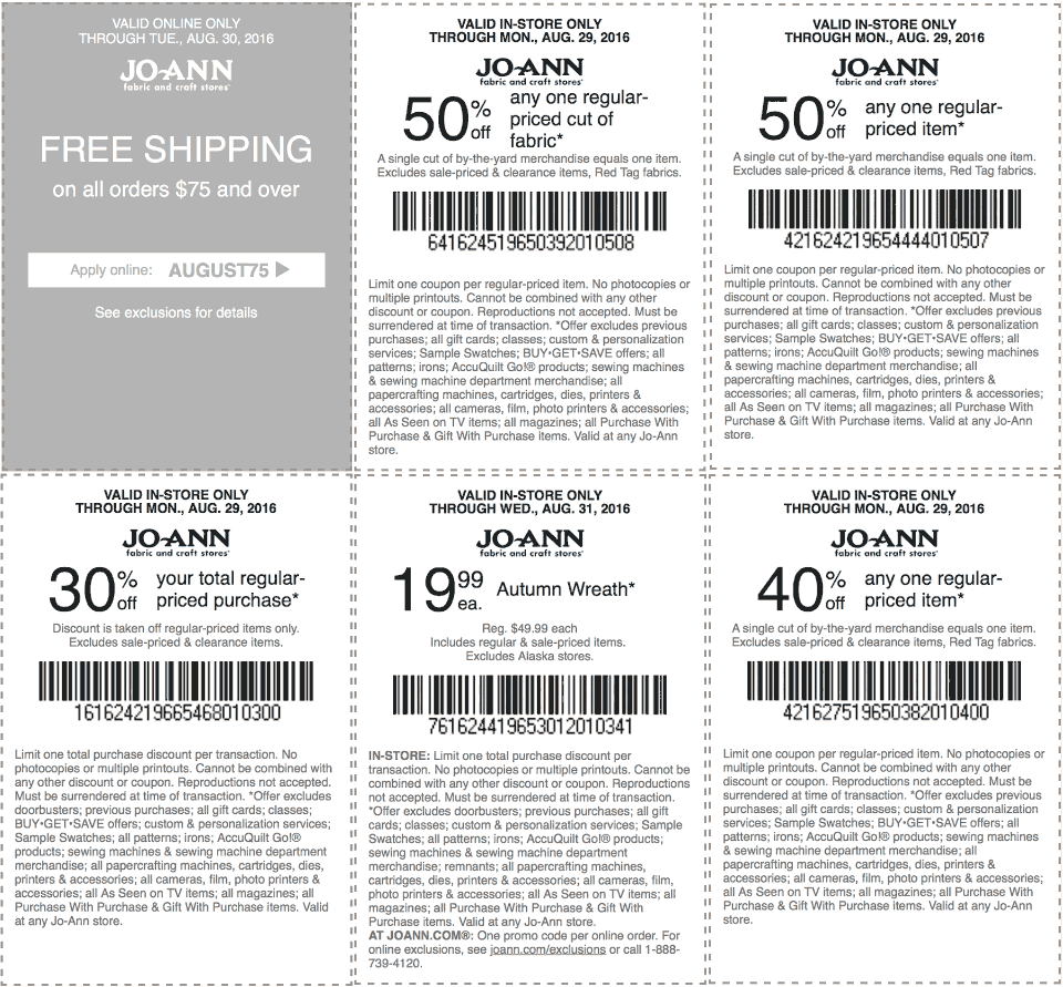 Jo-Ann Fabric Coupon December 2016 50% off a single item & more at Jo-Ann Fabric