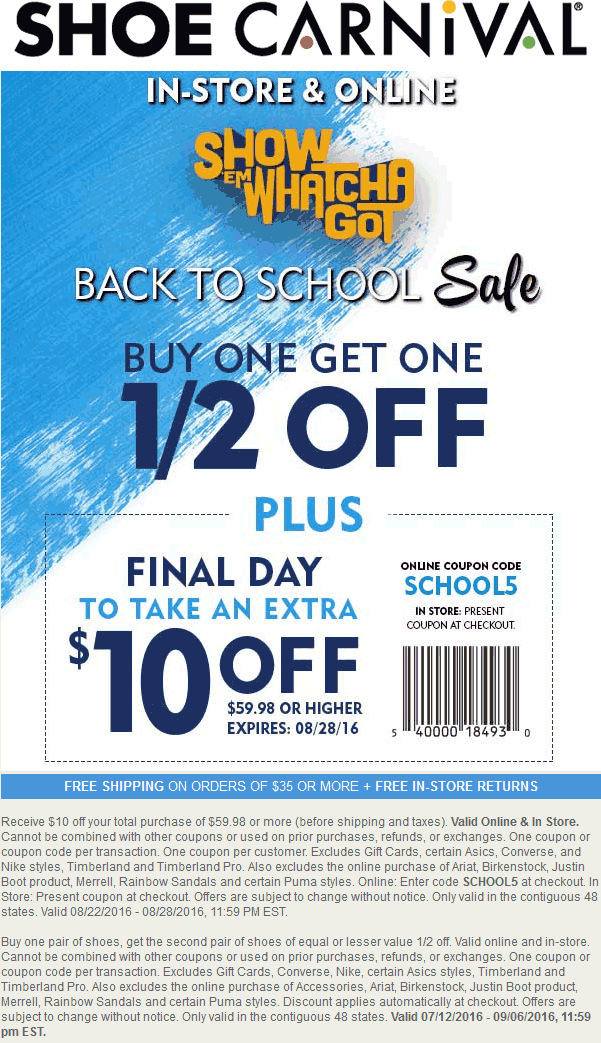 ShoeCarnival.com Promo Coupon $10 off $60 at Shoe Carnival, or online via promo code SCHOOL5