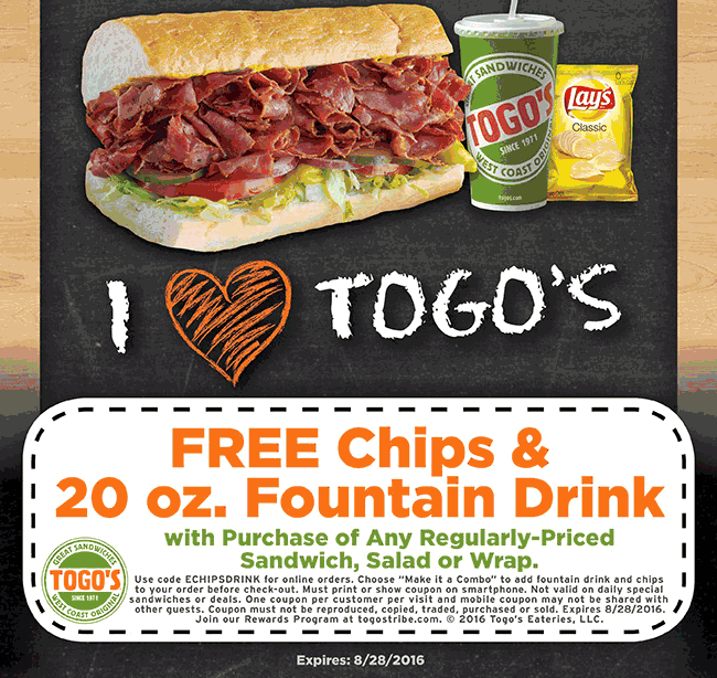 Togos Coupon May 2017 Free chips & drink with your sandwich today at Togos