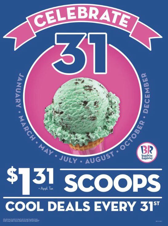 Baskin Robbins Coupon April 2018 Ice cream scoops for $1.31 Wednesday at Baskin Robbins