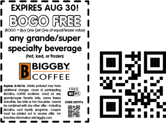 Biggby Coffee Coupon May 2018 Second beverage free at Biggby Coffee
