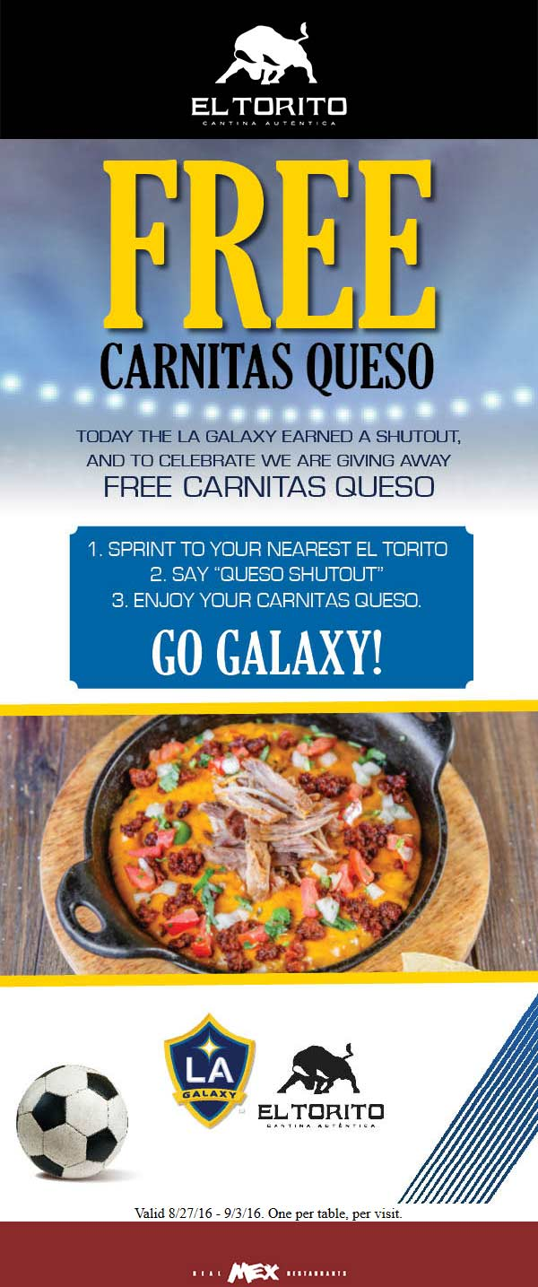 El Torito Coupon April 2018 Free carnitas queso at El Torito restaurants
