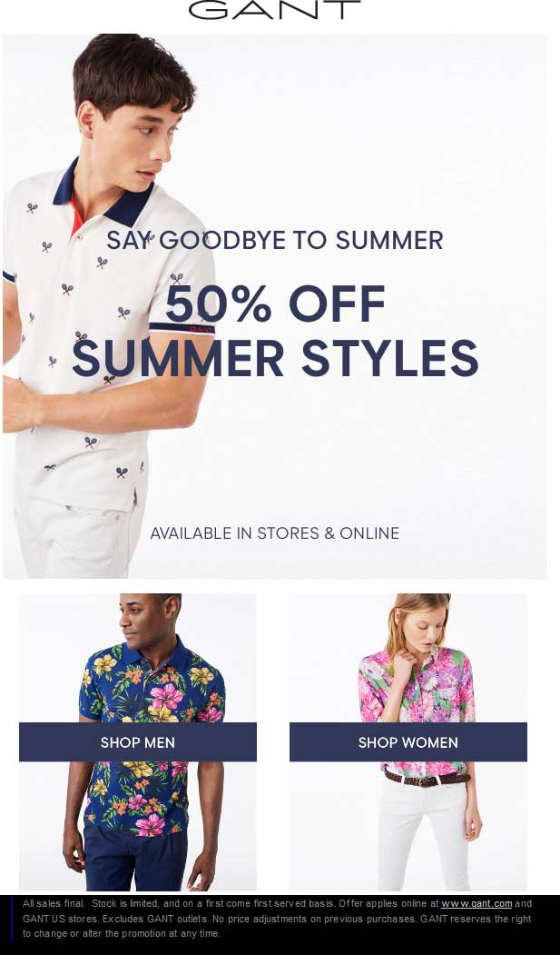 Gant Coupon October 2016 Extra 50% off Summer at Gant, ditto online