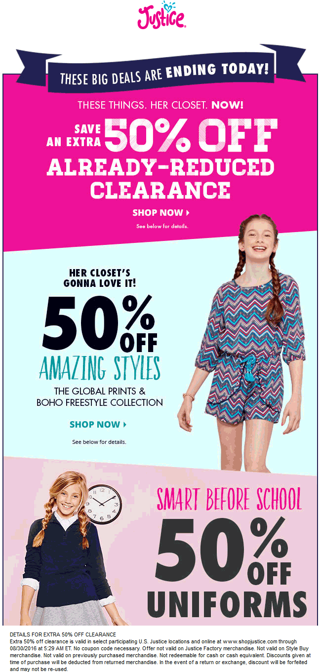 Justice Coupon March 2017 Extra 50% off clearance today at Justice, ditto online