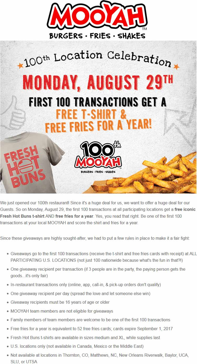 Mooyah Coupon April 2017 Free fries for 1yr + t-shirt to first 100 today at Mooyah restaurants