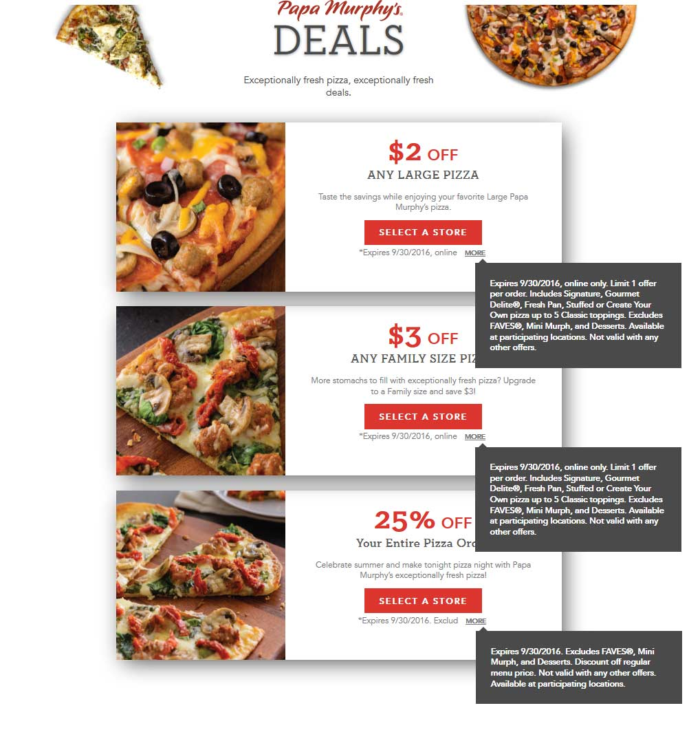 Papa Murphys Coupon August 2017 25% off your order & more at Papa Murphys pizza