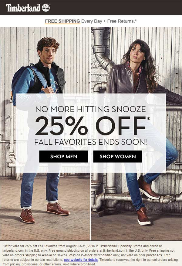 Timberland.com Promo Coupon 25% off Fall faves at Timberland, ditto online