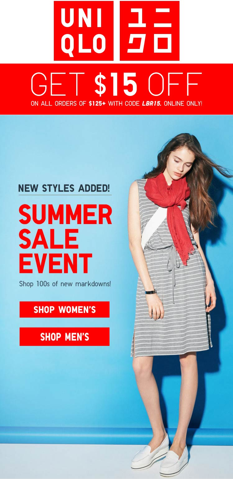 Uniqlo Coupon February 2018 $15 off $125 online at Uniqlo via promo code LBR15