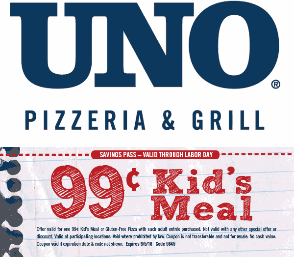 Uno Pizzeria Coupon February 2018 Kids meal for a buck at Uno Pizzeria & grill